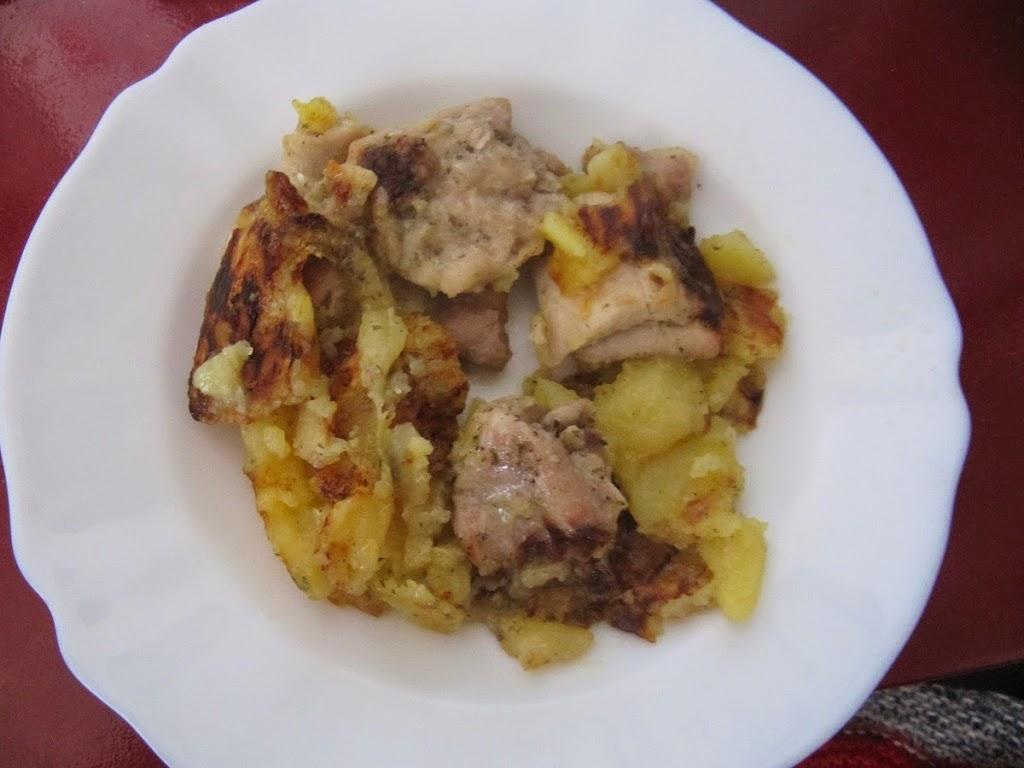 Muslos de pollo con patatas y cerveza