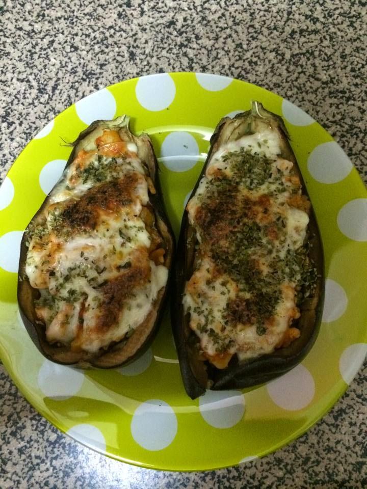Berenjenas rellenas de carne de pollo y patata