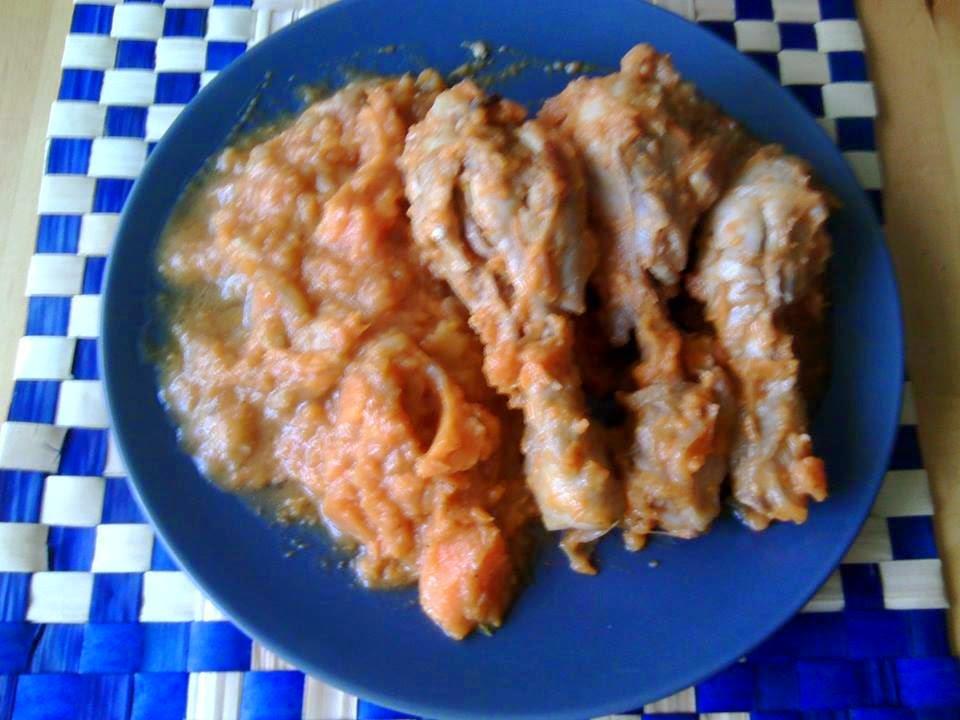 Jamoncitos de pollo con puré de boniatos