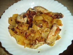 Receta Pollo asado con patatas