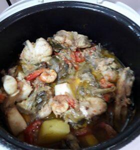 cocido de verduras con marisco