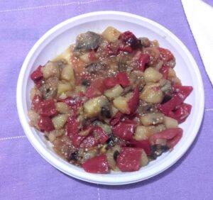 fritura de pimientos y verduras